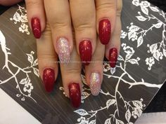 Acrylic nails with red gel polish