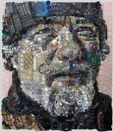 "Post 5/6: Zac Freeman is an assemblage from Jacksonville, Fl who works with objects (junk) to create art.  ""My work focuses primarily on portraits created by assembling found objects, disposable goods, and the leftover trash of things we consume in our society. I glue the bits of junk to a wooden substrate, a canvas, which forms the image of a portrait. The result is a stunningly realistic portrait at a distance and an interesting array of objects up close."" - Zac Freeman"