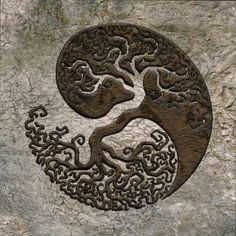 A powerful multi-faceted symbol of the tree of life, the tree of knowledge (good and evil), connecting to heaven and the underworld. In this image you can also see the Yin and Yang of opposite or contrary forces which can equally be complementary, interconnected, and interdependent. The circle, continuous and everlasting, and lastly, it also represents the foetus, a new birth, a new dawn, the continuous cycle of life (and death). Based on an original B&W design by unknown!