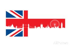 British Flag with Very Detailed Silhouette London Skyline Composition. Poster by wawrodesign - AllPosters.co.uk