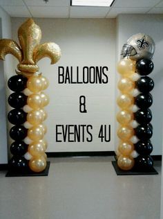 New Orleans Saints theme balloon columns with a Betallic Fleur de Lis Balloon Topiary, Balloon Backdrop, Balloon Centerpieces, Balloon Decorations Party, Balloon Ideas, 50th Birthday Balloons, Birthday Favors, Birthday Parties, Themed Parties