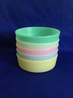 Set of 5 Tupperware Little Wonders Rainbow Pastel Colored Round Plastic Snack Bowls Vintage Kitchen by yourmamashouse on Etsy
