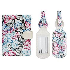 JAVOedge Luggage Travel Set Butterfly RFID Blocking Passport Case with Pen Holder  2 Matching Luggage Tags * You can find more details by visiting the image link. (Note:Amazon affiliate link)
