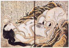 Ukiyo-e Hokusai Tako Shunga Octopus