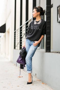 #Casual Friday :: #Aviator #Jacket & Soft #Sweater Women fashion style clothing outfit blue jeans heels handbag violet top sweater spring casual