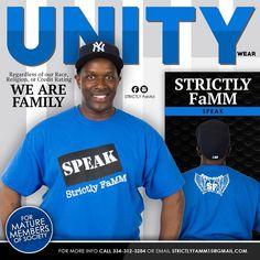 "Blue/Black/White ""Speak"" Strictly FaMM shirt design edition"
