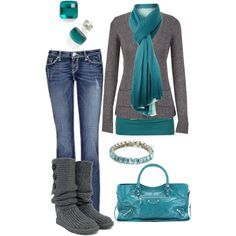 """Teal and Grey"" by crzrdnk77 on Polyvore"