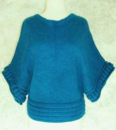 MOTH ANTHROPOLOGIE Teal Turquoise Sweater S / P Mohair Blend Dolman Winter Fall