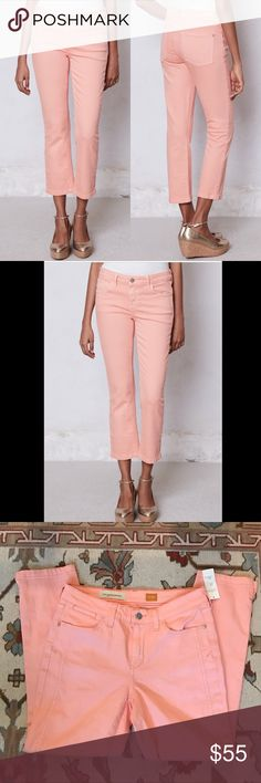 """NWT Anthropologie Pilcro Stet Crops Pink Sz 27 🔹Pilcro & the Letterpress from Anthropologie   🔹Fir Stet Crops  🔹Size 27  🔹Cotton & spandex   🔹New with tags! Originally $88!  🔹Waist: 13.75"""" across the front, lying flat.  🔹Inseam: 26"""".  🔹Rise: 8.75"""".  ✳️ Bundle to Save 20%!  ❌ No Trades, Holds, PP, Modeling  🎀 100% Authentic!   ⭐️⭐️ Suggested User • 2000+ Sales • Fast Shipper • Best in Gifts Party Host! ⭐️⭐️ Anthropologie Jeans Ankle & Cropped"""