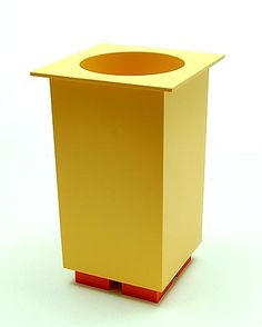 "Botterweg Auctions Amsterdam > Yellow plastic ice-bucket on orange stand ""Euclid"", design Michael Graves 1994, executed by Alessi / Italy"