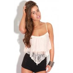 Basic Peach Lace Floaty Crop Top With Straps   This basic crop looks fab with any outfit to dress it up or down!   ♥ Basics ♥ 95% polyester 5% Elastane