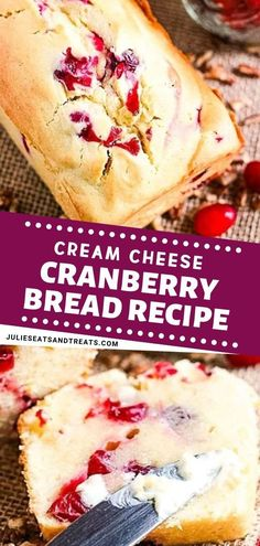 A quick bread recipe with cream cheese complimenting the tart cranberries result. Cranberry Dessert, Cranberry Bread, Cranberry Cheese, Cranberry Recipes, Thanksgiving Desserts Easy, Easy Holiday Recipes, Christmas Desserts, Cream Cheese Bread, Cream Cheese Recipes