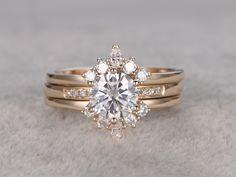 1 carat Moissanite Wedding Set 14k Yellow Gold Bridal Ring Pave Art Deco Unique Design