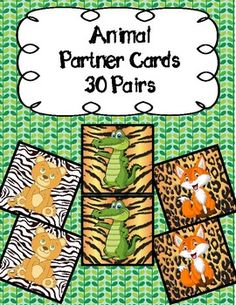 Never again will you struggle with choosing partners in your class again. Simply print out these cards (I print them on cardstock for extra sturdiness!) and let your kids choose one each. Then, they find the buddy who has the same and . Classroom Organization, Classroom Management, Animal Print Background, Partner Cards, Primary Classroom, Jungle Animals, Student Work, Card Stock, Tool Box