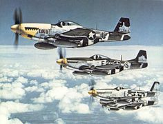 """The Bottisham Four"", a famous photo showing four U.S. Army Air Force North American P-51 Mustang fighters from the 375th Fighter Squadron, ..."