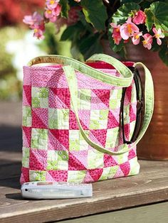 Four-Patch blocks and triangle-squares team up to make up this fun quilted tote.