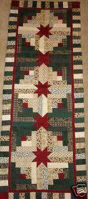 LOG CABIN STAR TABLE RUNNER QUILT PATTERN~CHRISTMAS in Crafts, Sewing & Fabric, Quilting | eBay