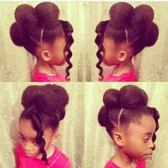 Follow me for more sweet pins! So pretty and creative. Updo natural hair styles for little black girls. Sweet!