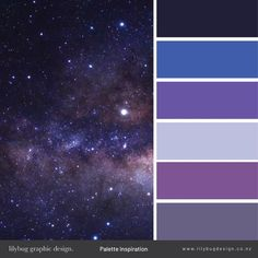 galaxies and stars Purple Color Schemes, Color Schemes Colour Palettes, Purple Color Combinations, Lila Palette, Blue Colour Palette, Room Colors, Wall Colors, Colours, Decoration Palette