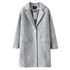 Around Town Collared Long Sleeve Coat (€43) ❤ liked on Polyvore featuring outerwear, coats, grey, long sleeve coat, gray coat, grey coat and collar coat