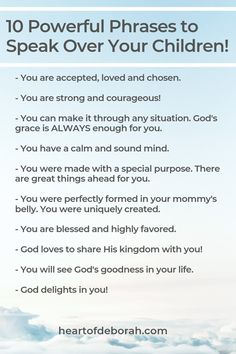 Use scripture to pray over your child. Learn how to use scripture inspired words to speak life over your child and speak blessings over your family. Gentle Parenting, Parenting Advice, Kids And Parenting, Parenting Quotes, Christian Affirmations, Affirmations For Kids, Positive Affirmations, Mentally Strong, Speak Life
