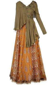 SHASHANK ARYA presents Mustard embroidered lehenga skirt with top available only at Pernia's Pop Up Shop. Lehenga Skirt, Lehnga Dress, Cape Lehenga, Saree Gown, Anarkali Suits, Indian Fashion Dresses, Indian Designer Outfits, India Fashion, Indian Wedding Outfits