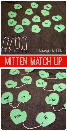 Winter Mittens Match-Up - what a great way to practice matching (math problems, opposites, etc).  Great for fine motor skills too.