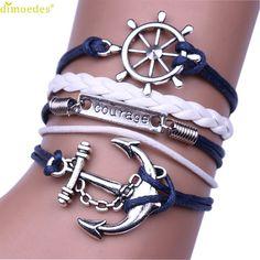 Diomedes Newest Classy1PC Women Bracelet Handmade Adjustable Vintage Anchor For Life Multilayer Wristband Bracelet Gift For Girl
