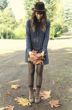 tights, socks, and boots combo