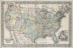 1867 MITCHELL MAP OF THE US TERRITORIES & CANADA poster historic 24X36-PW0