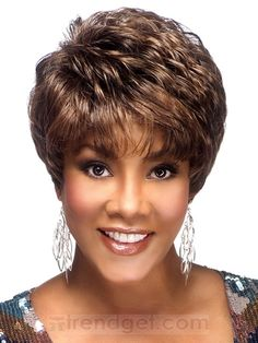 Short Wavy / Curly Brown Full Lace Wigs For Black Women 100% Indian Remy Hair - $213.99 - Trendget.com