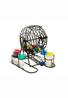 Great for parties, this fun Bingo Drinking Game will add excitement to taking shots. Includes a black metal rotary bingo cage, 48 multi-colored plastic balls and 6 coordinating multi-colored shot glasses. See what color comes up to determine who takes a shot.