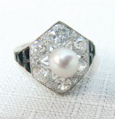 1920's Art Deco Signed Marcus & Co. Diamond Ring With French Cut Onyx & Pearl