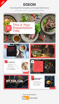 Make your business stand out with this presentation template. This modern design has a clean composition with a bright pink accent color and gorgeous food photos. Choose this theme to present your restaurant and menu, a diet and nutrition plan or a marketing campaign for a company in the food industry. Bon appetit! Nutrition Plans, Diet And Nutrition, Modern Food, Pink Accents, Food Industry, Accent Colors, Presentation Templates, Food Photo, Bon Appetit