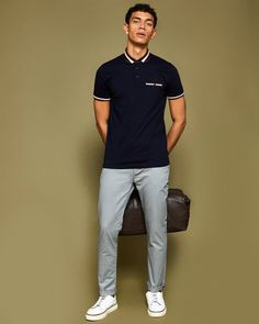 Tapered fit cotton chinos - Light Grey | Out of Office | Ted Baker UK