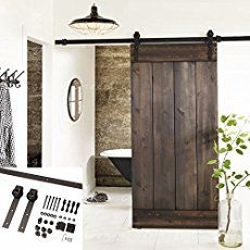 DIY barn door can be your best option when considering cheap materials for setting up a sliding barn door. DIY barn door requires a DIY barn door hardware and a Barn Door In House, Wood Barn Door, Diy Barn Door, Wood Doors, House Doors, Metal Barn, Interior Sliding Barn Doors, Sliding Barn Door Hardware, Sliding Doors