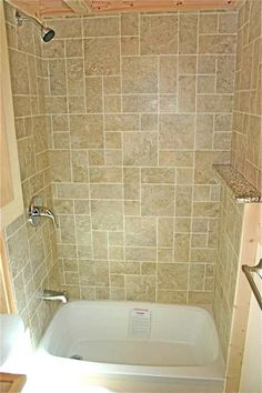 The closest pix I've found for creating a soaking tub in the shower stall. It appears that this particular tub is also In use as a shower. I'd install a wand shower instead. More useful and removes the shower head.