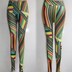 New Geometric Legging Colorful Stripes Printed Leggings Skinny Tights Soft Slim Pants L65