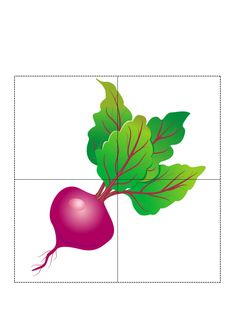 4 Piece Puzzle Patterns on Vegetables - Preschool Children Akctivitiys Book Projects, Educational Toys, Crafts For Kids, Preschool, Shapes, Activities, Vegetables, Children, Flowers