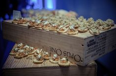 Love this rustic, box display for finger foods at a wedding reception! This one by Simply Delicious Caterings is perfect! Image credit: Creation Studios.