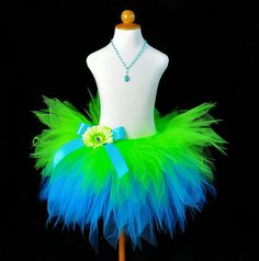 Lime & Turquoise Layered Pixie Cut Tutu ~ love the colors!