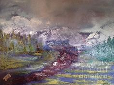 Title:  Blurred Mountain   Artist:  Jan Dappen   Medium:  Painting - Oil On Canvas