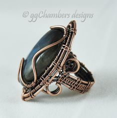Blue Labradorite Cabochon and Antiqued Copper Woven Wire Cocktail Ring