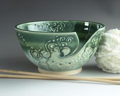 Large Yarn Bowl via Etsy - Claygardenpottery.  Made by my very dear friend and neighbor.  I LOVE her yarn bowls..