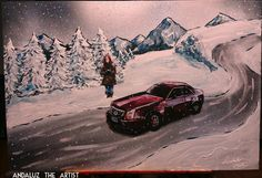 Andaluz the Artist Snowy Landscape painting Featuring a Beautiful detailed Catillac and woman.  #art #painting #caddy #catillac # red #car #snow #landscape #woman #unique #snowy