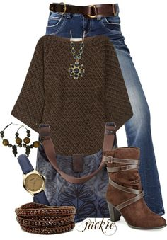 """Brown and Blue"" by jackie22 ❤ liked on Polyvore"