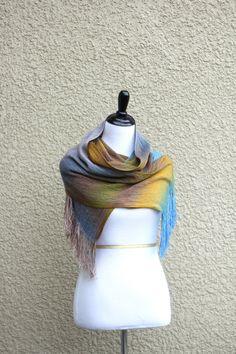 Hand woven long scarf gradient blue yellow beige gray long with fringe  Hand woven long scarf with gradually chan... #kgthreads #sellertools