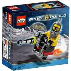 LEGO Space Police Set #8400 Space Speeder by LEGO. $9.99. includes Alien villain 'Snake' minifigure. Rocket bike is armed with a laser cannon. Recommended for ages 5-12. Vehicle including fire trail measures 3 inches (7.6cm) long. This Lego Space Police set has 14 pieces. The alien crook is getting away! Alien punk Snake is on the loose again, causing chaos in the space-lanes with his super-fast rocket bike! Can the Space Police catch him and put him back in galactic jail? * Ali...