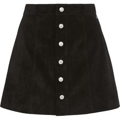 Alexa Chung For AG Jeans The Gove suede mini skirt (5,385 MXN) ❤ liked on Polyvore featuring skirts, mini skirts, bottoms, saias, black, button front skirt, suede button front skirt, short skirts, suede a line skirt and suede mini skirt