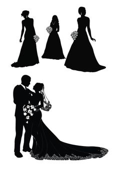Wedding+Couple+Silhouette | Bride and groom silhouette vector - Vector Gallery
